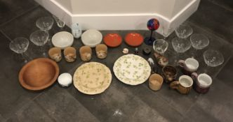 LOT OF ASSORTED ANTIQUE ITEMS. GOBLETS WINE GLASSES, TEA CUPS, PLATES, CHINES PLATES/CUPS, FIGURINGS