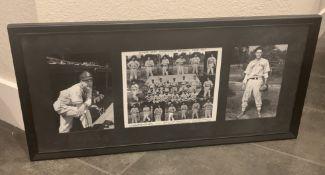"1943 SECOND ARMY FRAMED BASEBALL TEAM PHOTO 26.5X12.5"""