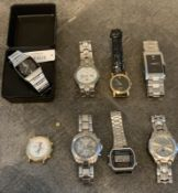 8 WATCHES MENS WOMENS WORKING, GUESS , FOSSIL , CASIO ETC