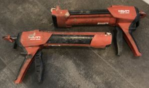 LOT OF TWO Hilti HDM 500 Manual Anchor Adhesive Dispenser with HIT-CR 500