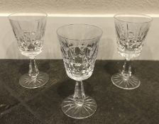 """LOT OF 3 PIECES WATERFORD CRYSTAL KYLEMOR SMALL WINE GLASS GOBLET 6"""" INCHE"""
