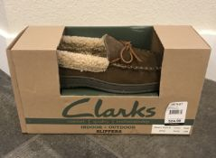 CLARKS INDOOR AND OUTDOOR BROWN HOUSE SLIPPERS IN A SIZE 10M