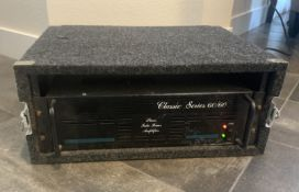 PEAVEY CLASSIC SERIES 60/60 STEREO TUBE POWER AMPLIFIER VINTAGE WITH HARD GRUNDORF TRAVEL CASE
