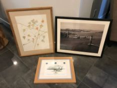 LOT OF TWO FRAMED PAINTINGS AND A PHOTOGRAPH OF A VINTAGE AIRPLANE