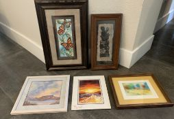 COLLECTION OF 5 SMALL ARTWORKS FRAMED