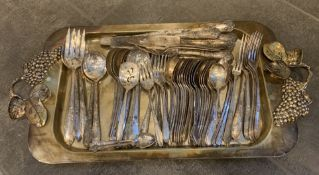 ANTIQUE SILVER CUTLERY AND SERVING TRAY