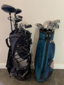 2 GOLF BAGS FILLED WITH MIXED CLUBS