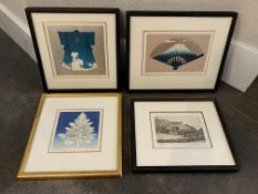 4 SMALL SIGNED AND NUMBERED ART WORKS FROM PARIS AND JAPAN
