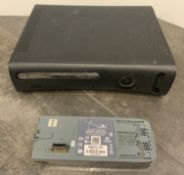 BLACK XBOX 360 GAME CONSOLE UNIT WITH ATTACHED EXTRA HARD DRIVE UNIT