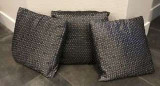 LOT OF THREE DECORATIVE MODERN THROW COUCH PILLOWS IN SILVER AND GRAY 14 X14