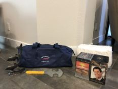 LOT OF ANTHONY ROBBINS PERSONAL POWER AND GET THE EDGE TRAINING DVDS NAVY GYM BAG, DOLPHIN DECORE