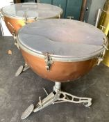 Set of 3 Vintage Oversized Drums, Copper Finish, Leedy & Ludwig Pedal, Weather King **If won, must