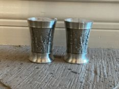 2 Crown Pewter Malaysia Shot Glasses