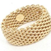 Tiffany & Co Somerset 18K Yellow Gold Mesh Pattern Band Ring, 9.8mm 14.6 Grams, Size 7.5