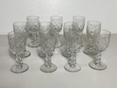 Set of 11 Crystal Glasses, Port Wine Dessert Stemware