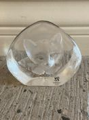 Mats Jonasson Maleras Sweden Full Lead Signed Crystal Cat Sculpture