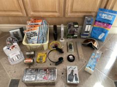 Misc Household and New Retail Items, Router, Sony Headphones, Brookstone Travel Charger Etc