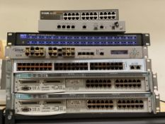 7 Networking Equipment units: HP, D-Link, NVT, Anue, Etc