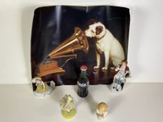 4 Collectable Figures, Vintage Glass Unopened Coke Bottle, Dog with Record Player Poster