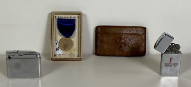 Vintage Lighters Zippo and Ronson, Dieges & Clust Trophy Metal, Vintage Wallet