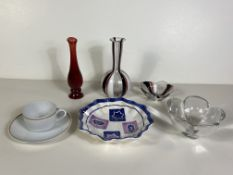 7 Pieces of Collectable Glass and China. Oggetti Italy Blown Glass, Avon Vintage Bottle, Etc