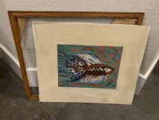 "VERY OLD ANTIQUE WATER COLOR ON WOOD 11X8""   19.5X16.5 WITH FRAME"