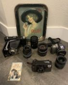 VINTAGE CAMERA'S AND LENSES / COCA COLA ANTIQUE TRAY