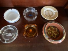 6 Assorted Vintage Ash Trays - GOP Convention 1980, Hilton Hotels, Silja Lines, Plaza Tel Aviv, Etc