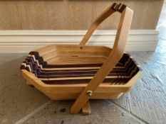 Hand Crafted Robert Wittman Arts & Crafts Wood Folding Basket Dish
