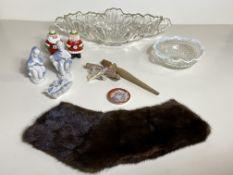 Misc Glass Bowls, Santa Salt/Pepper Shakers, Christian Glass Sculptures, Mink Colar