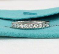 Tiffany & Co. 950 Platinum Half Eternity 0.33 CTW Diamond Wedding Ring Band Size 5.75 #R1127