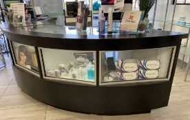 Large Black POS station Register Desk with Glass display shelves and storage *Las Vegas Pick up only