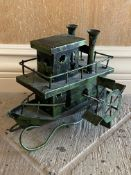 Green Metal Steamboat Music Box