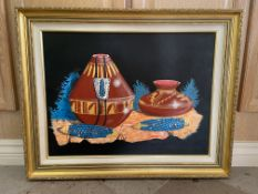 "Clai '80 Native American Art Painting Framed 29x23"" Red Pots"