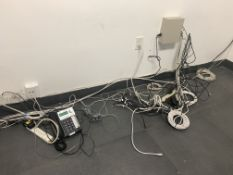 AT&T PHONE , CABLES, ELECTRONIC CABLE BOX ON WALL