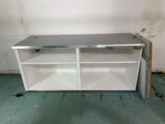 74X25.5 BRAND NEW FRONT COUNTER UNIT. / NEW COUNTER TOP WITH EXTRA SHELVES