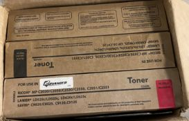 BOX FULL OF 6 LARGE OFFICE PRINTER COLOR TONERS