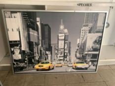 2 LARGE FRAMED PICTURES OF NEW YORK AND PARIS
