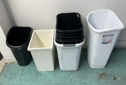 LOT OF TRASH BINS MIXED SIZES ALL CLEAN