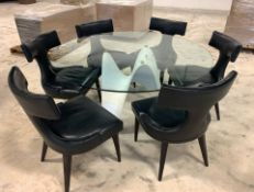 6 SEAT DINNING / GAME TABLE MODERN GLASS TOP