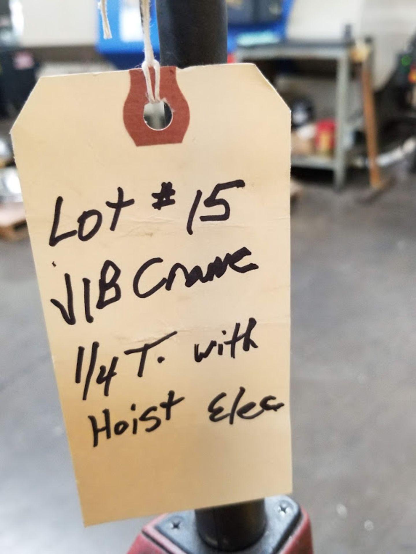 Lot 15 - JIB Crane 1/4 Ton with Trolley Rails & Dayton Electric Chain Hoist, 115 Volt