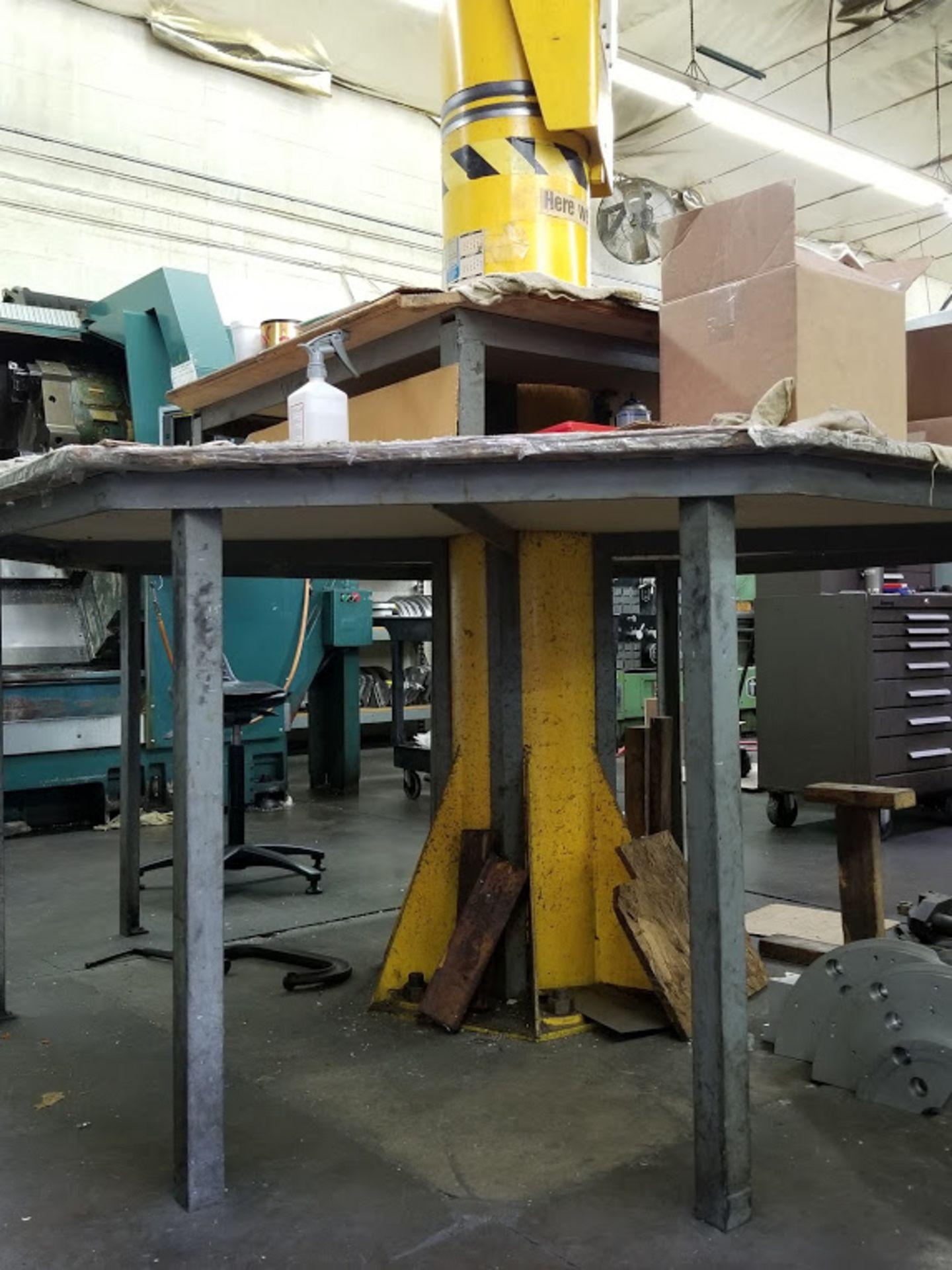 Lot 14 - Southwest JIB Crane 1/2 Ton with Trolley Rails & Electric Chain Hoist 110 Volt & Shop Table. No