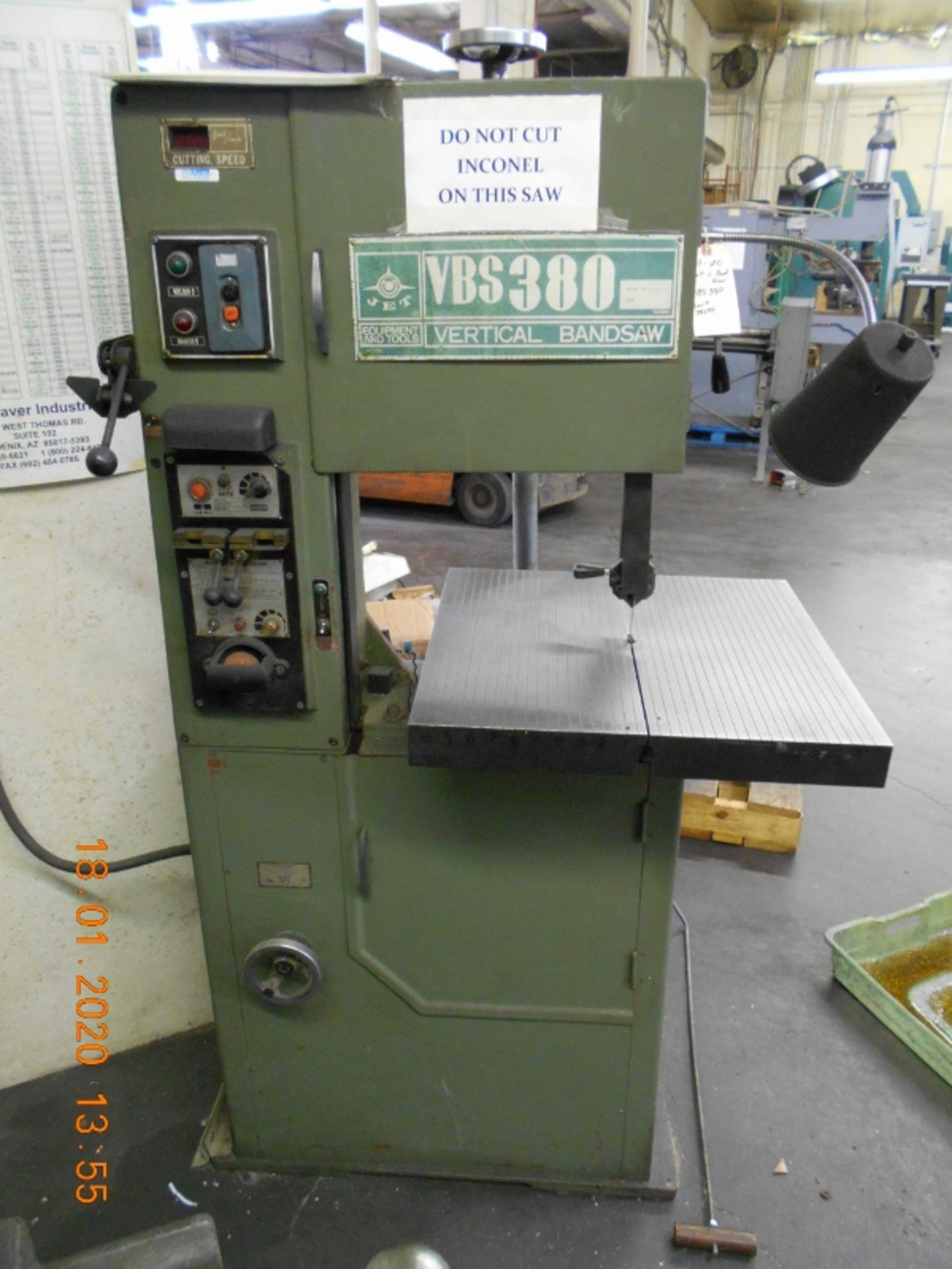 Lot 20 - Jet Metal Vertical Bandsaw Model #VBS-380 Serial #38094