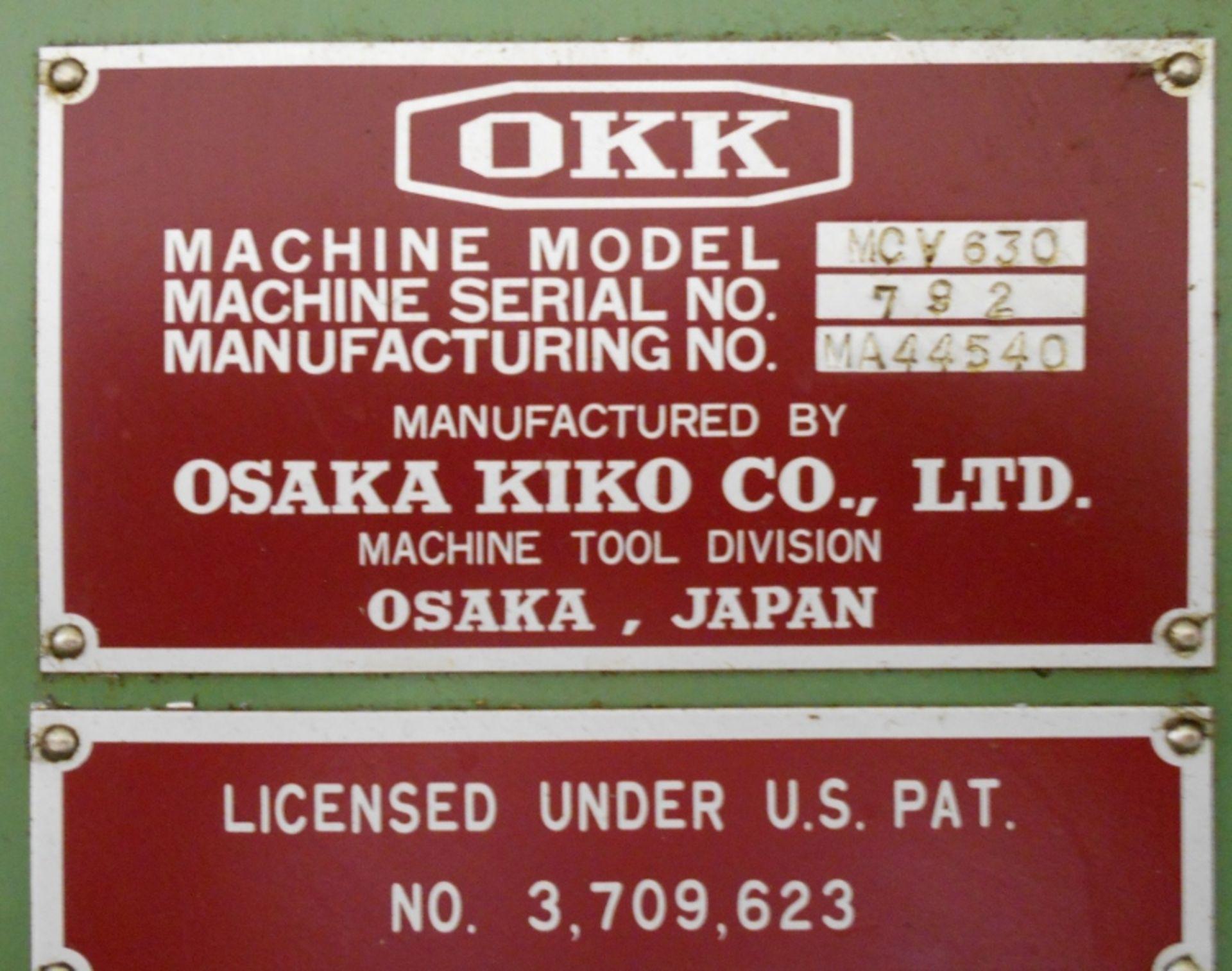 Lot 1 - OKK MCV-630 CNC Vertical Machining Centers Serial #792