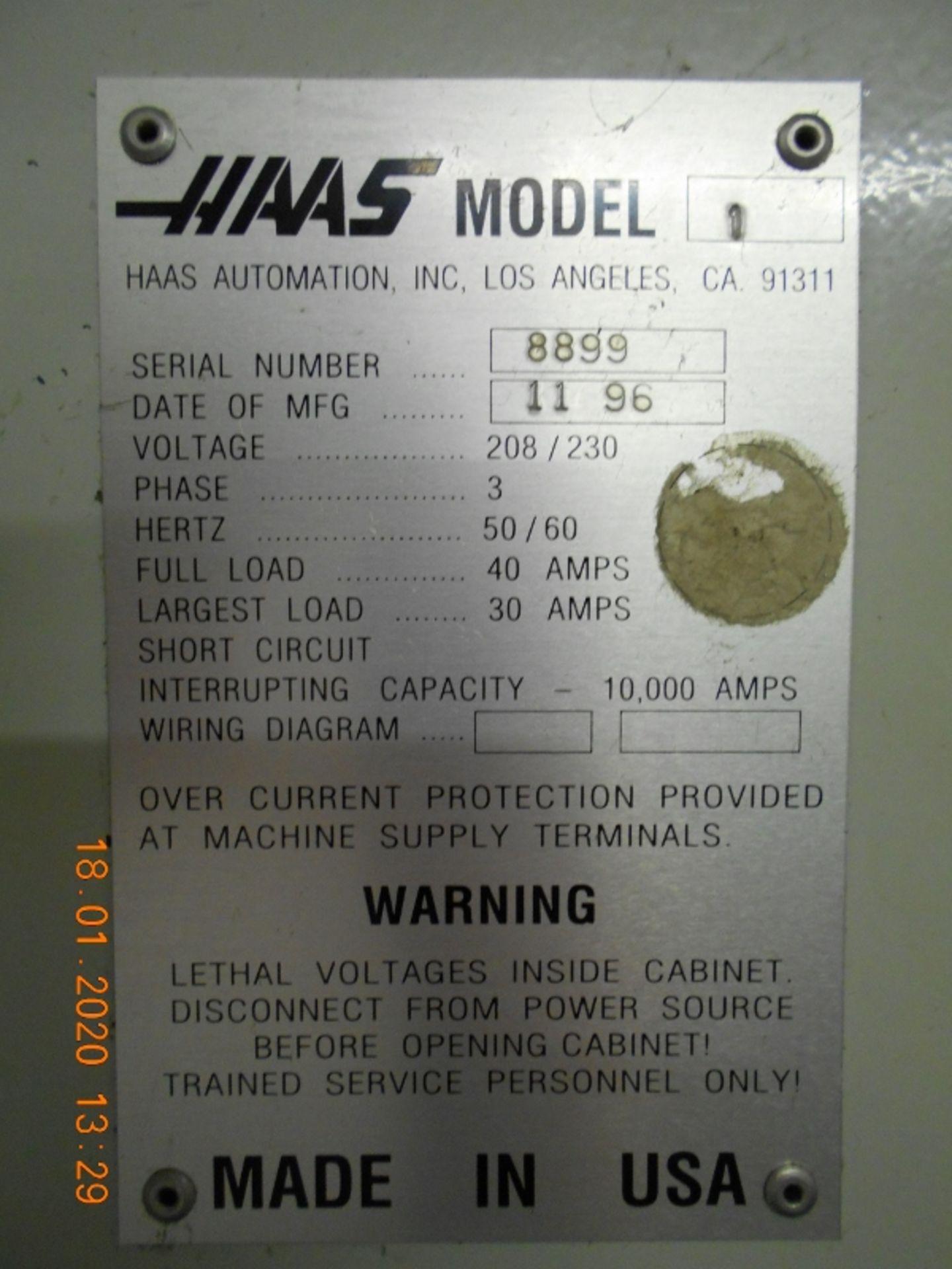 Lot 3 - Haas CNC Vertical Machining Center (VMC) VF-1 Serial #8899