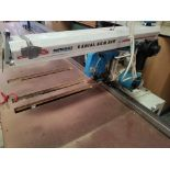 """Omga 14"""" Radial Arm Saw # RN600, 3ph, with Pinnacle auto fence, 13' long"""