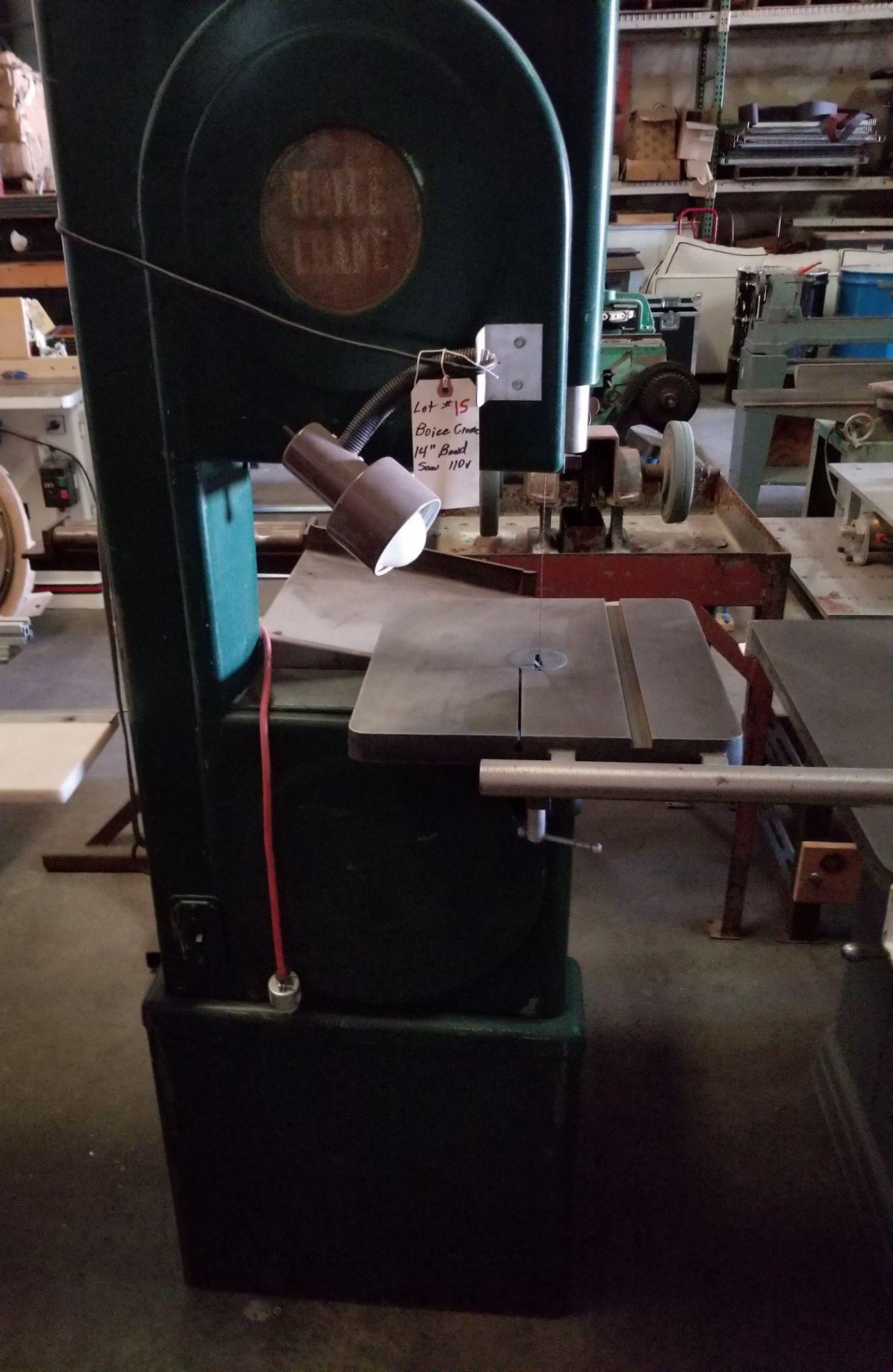 "Lot 15 - Boice Crane Vertical Band Saw #4709 Made in USA, 110V, 98"" saw blade"