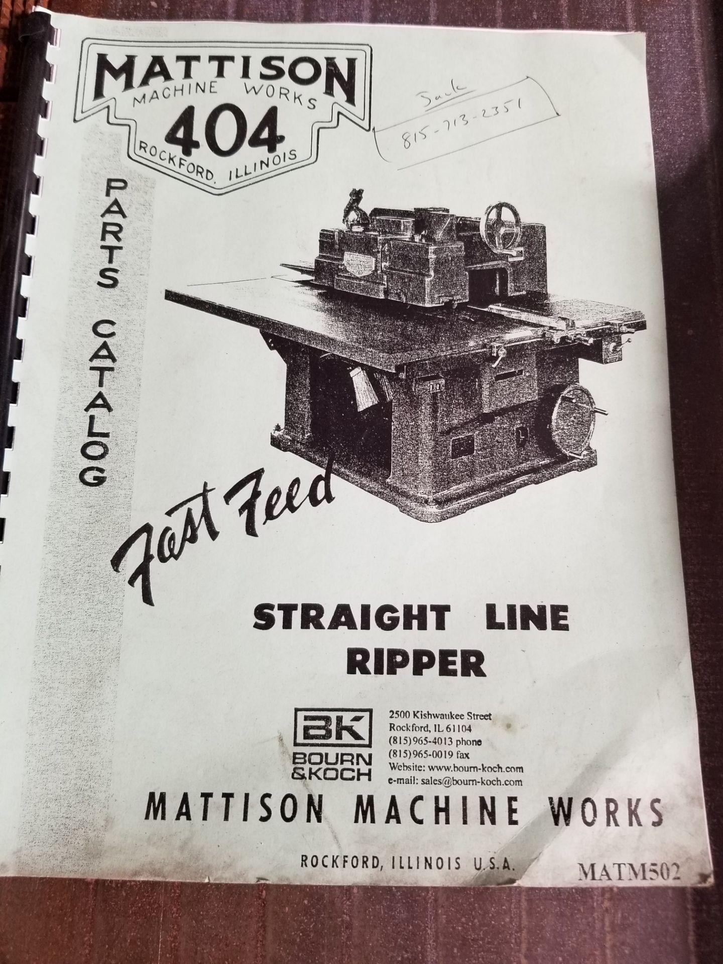 "Lot 3 - Mattison Machine Works #404 14"" Heavy Duty Straight Line Rip Saw, 15HP MAIN MOTOR, 2HP FEED MOTOR,"