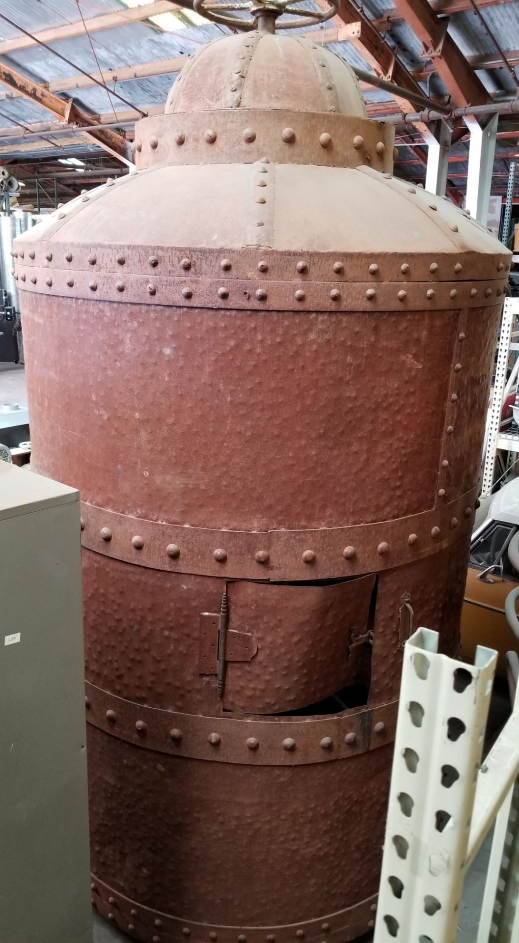 """Lot 73 - Steel Alcohol Boilermaker Stage Prop, 128"""" tall x 70"""" in diameter."""