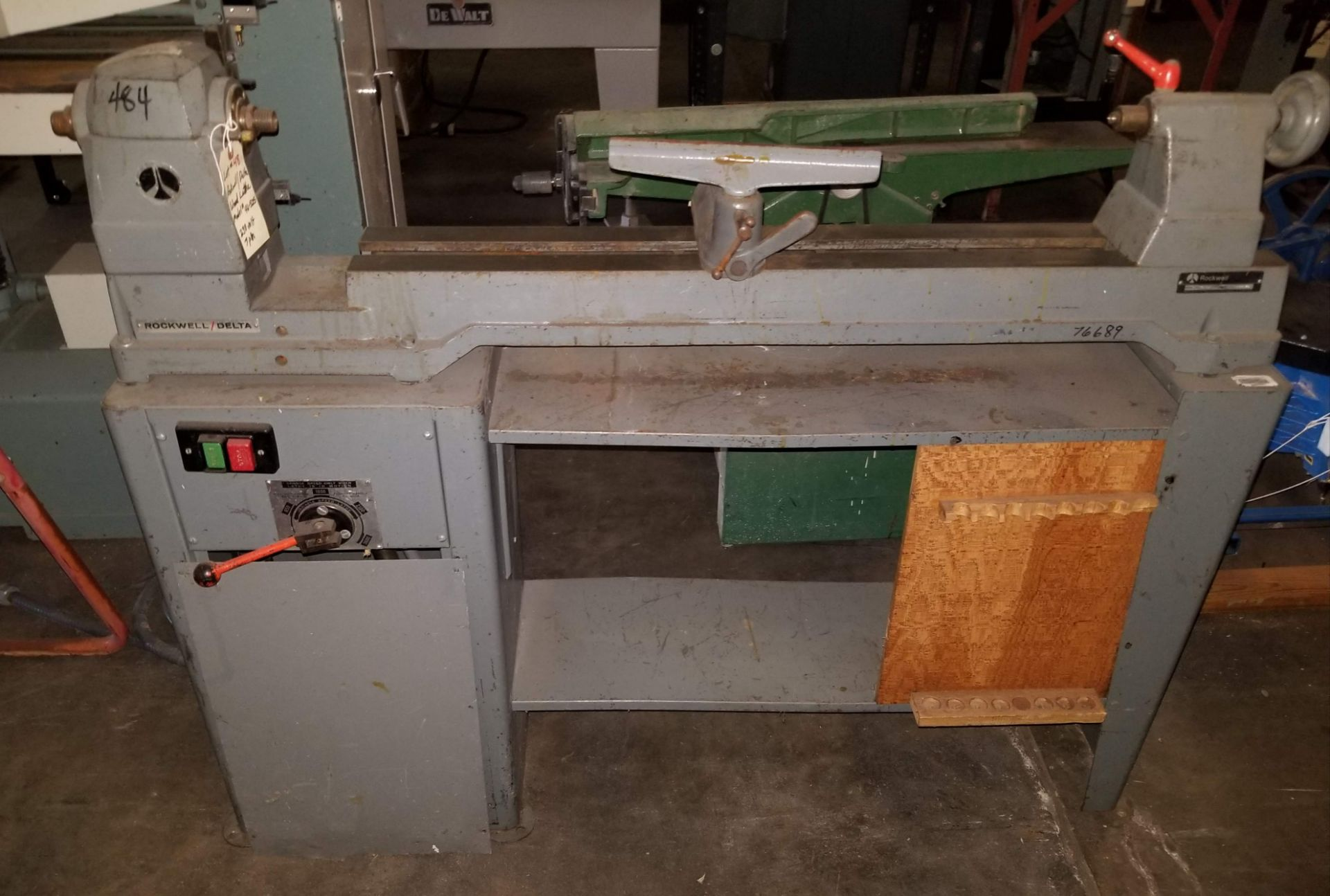 Lot 48 - Rockwell Delta Wood Lathe Model # 46-525, 230V 3ph, variable speed gap bed wood lathe in very good